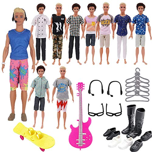 ZWSISU 30PCS 11.5 Inch Doll Accessories 5 Sets of Clothes Outfit,5 Hangers,4 Pairs of Shoes,1 Swimming Ring,1 Guitar,1 Skateboard,2 Pairs of Glasses,2 Pairs of Headset fit 11.5