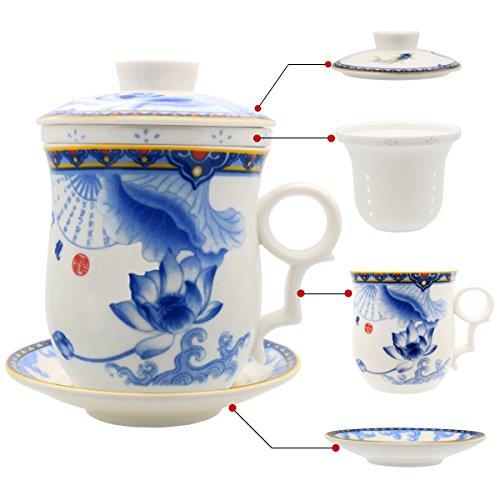 Hollihi - Tasse en porcelaine avec couvercle, soucoupe et infuseur - Tasse à thé en porcelaine chinoise de Jingdezhen pour thé en vrac ou café - Pour la maison ou le bureau