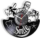 Sonrisa Dentista Disco de Vinilo Reloj de Pared clínica Dental Hospital estomatología Reloj de Pared Regalo Dentista