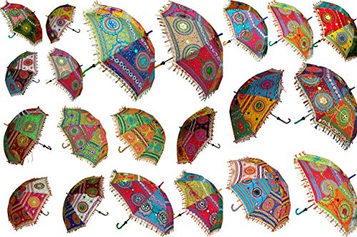 15 Stück Mix Lot indische Hochzeit Regenschirm, handgefertigte Stickerei, Regenschirm, Dekorationen, Spiegel, Arbeit Vintage Sonnenschirme, Baumwolle Regenschirme