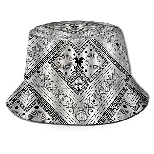 Pesca Hat Meandros De Llave Griega 3D De Plata Gorra para Hombre Mujer Unisex Ancha Bucket Hat Protección UV Sombrero De Sol para Al Aire Libre Senderismo Acampada