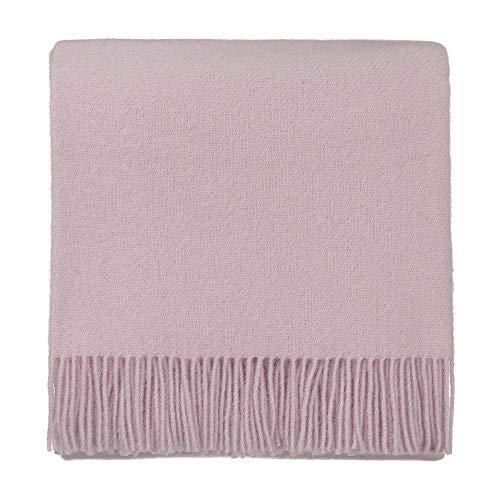 URBANARA 130x190 cm Lammwolldecke 'Miramar' Zartrosa — 100% Reine Lammwolle — Ideal als Überwurf, Plaid oder Kuscheldecke für Sofa und Bett — Warme Wolldecke mit Fransen