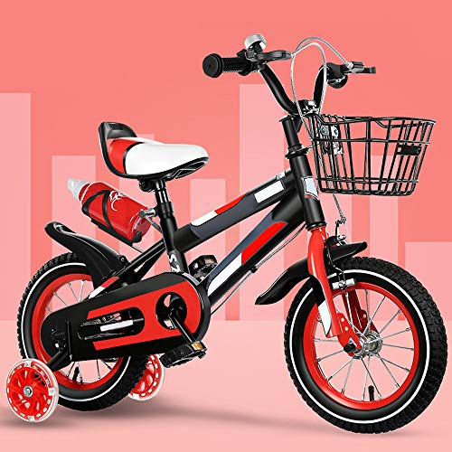 ZRZJBX 12' 14' 16' 18' BMX Freestyle Bicicletta per Bambini per Bici per Bambini, Regolabile, Resistente, con Stabilizzatori Rimovibili E Porta-Borraccia Sportiva,Red-16
