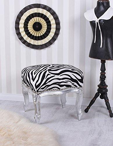 Fussbank Barock Silber Hocker Zebra Fußschemel Sitzhocker Vintage Palazzo Exklusiv