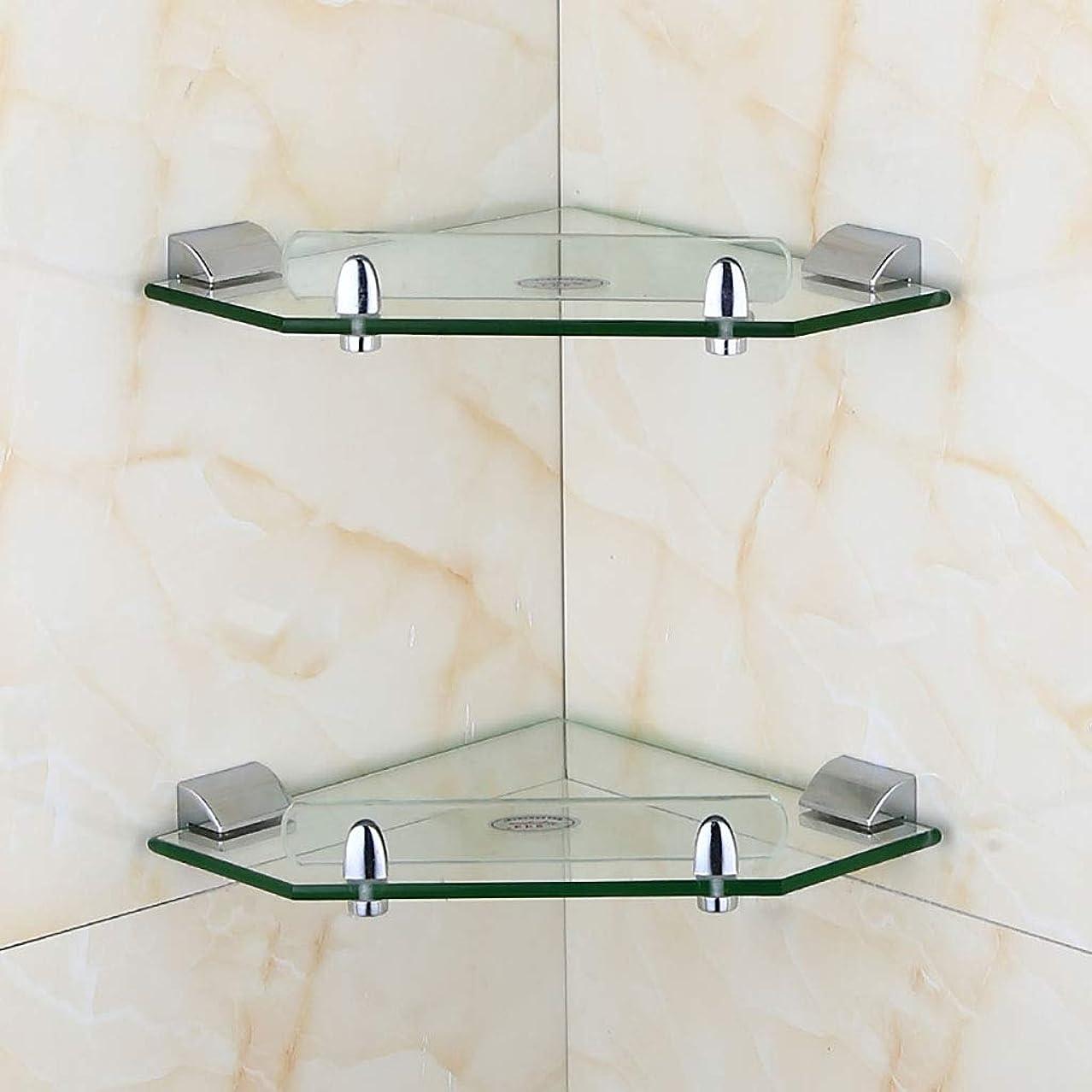 ウェーハ見習いペック8mm 強化ガラス ウォールマウント バスルーム シェルフ ストレージシェルフ ステンレス鋼 ウォール 三脚 バスルーム コーナーフレーム