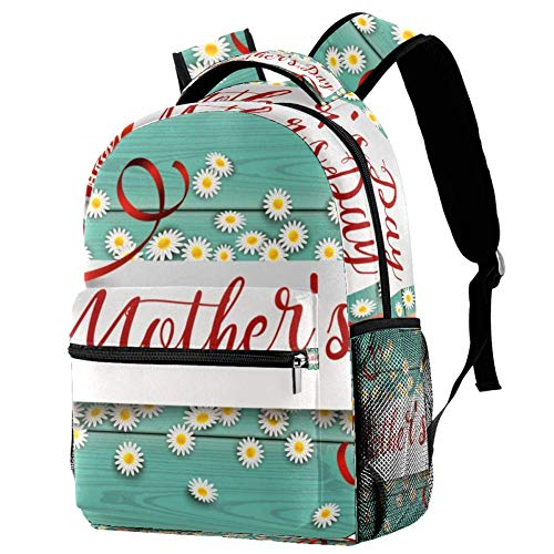 LORVIES Flowers Happy Mothers Day Student Backpack Shoulder Bags Travel Daypack for Kids Teenagers