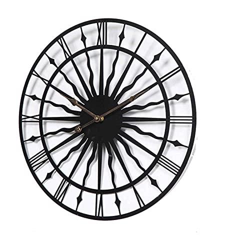 XQYPYL Vintage Reloj de Pared de Metal Números Romanos Reloj de Pared Grande Reloj Silencioso, Redonda para Salón Dormitorio Cocina