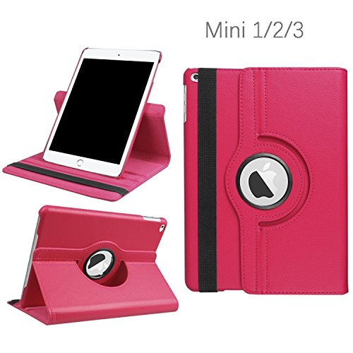 iPad Mini 1/2/3 Case - 360 Degree Rotating Stand Smart Cover Case with Auto Sleep/Wake Feature for Apple iPad Mini 1 / iPad Mini 2 / iPad Mini 3 (Rose) … …
