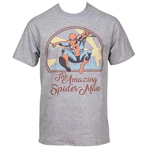 Camiseta masculina The Amazing Spider-Man Swinging Through The City, Cinza, XL