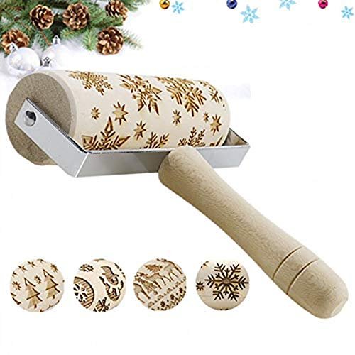 BERNIE ANSEL 3D Wooden Christmas Embossed Pattern Rolling Pin, Laser Engraved Pastry Pizza Baking Roller Pin for Christmas Cookies Baking Non Stick (Christmas Snowflake)