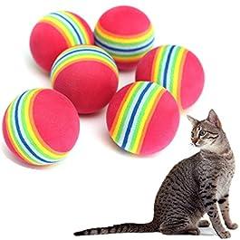 Cdet 3pcs EVA Rainbow Ball Safe Pet Chew Toy for Cat Rabbit Bats Hamster Kittens DIY Accessory Toy Pet Supplies