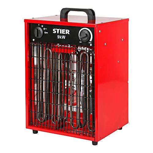 STIER Basic Heizlüfter, elektrisch, Heizleistung von 9,0 kW, Luftleistung 1150 m³/h, Heizgebläse mit 3 Heizstufen, Heizkanone, 9kw, IP24, Elektroheizer