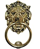 "7"" Large Regency Lions Head Door Knocker, Solid Brass, Antique Finish"
