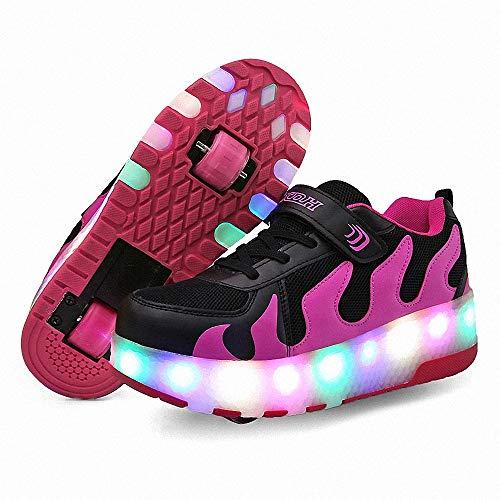 FZ FUTURE Blinken Skateboardschuhe, LED Rollschuhe mit Räder, Kinder Schuhe mit Rollen, Automatisch Verstellbares Räder Skateboardschuhe, für Kinder Mädchen Junge Erwachsene,Lila,31