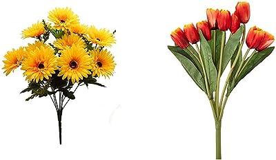 Fourwalls Beautiful Decorative Artificial Garabara Flower Bunches for Home Decor (48 cm Tall, 10 HEA & Beautiful Artificial Tulip Flower Bunch for Home Decor (38 cm Tall, 9 Heads, Orange) Combo