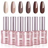 MIZHSE Pastel Nudes Gel Nail Polish Set -6x18ml Classic Brown Coffee Dark Grey Nail Gel 6pcs Soak Off UV LED Gel Polish Manicure Kit wirh Gift Box (Set 11)