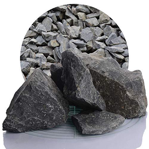 Schicker Mineral Basaltsplitt anthrazit 25 kg in den Größen 8-16 mm, 16-22 mm, 16-32 mm, 32-56 mm, ideal zur Gartengestaltung, schwarzer Naturstein Splitt (Basalt Splitt, 60-120 mm)