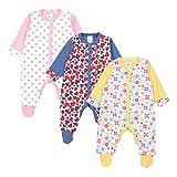 TupTam Baby Mädchen Schlafstrampler mit Fuß 3er Pack, Farbe: Farbenmix 1, Größe: 56