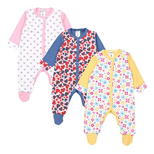 TupTam Baby Mädchen Schlafstrampler mit Fuß 3er Pack, Farbe: Farbenmix 1, Größe: 74