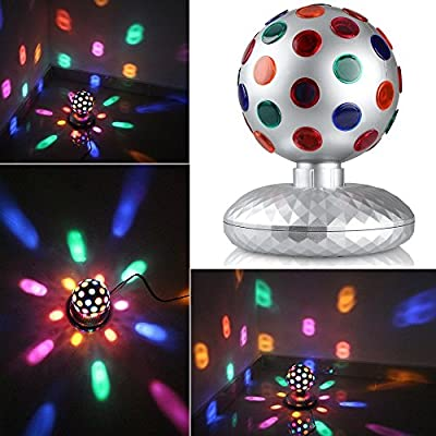 1byone 6.1-inch Platinum LED Disco Ball Light Rotating Multicolor Flashing Disco Ball Lights, Apply Lighting For DJ Disco House Party Hotel Stage Office Camping Field Music Concert Etc, Lighting For Halloween And Christmas