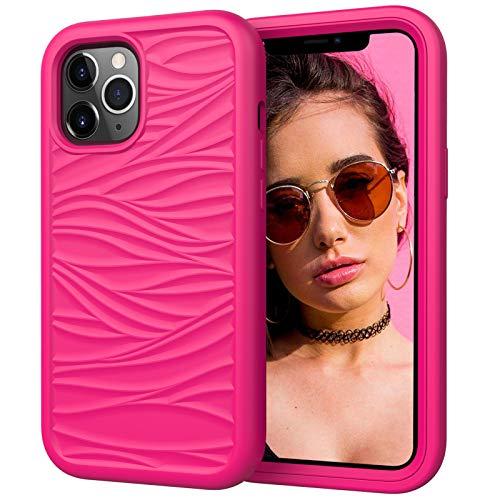 Funda para Iphone12/12 Pro/12 Pro MAX Carcasa Ondas de Rayas Suave TPU Protector Caso 3 en 1 Silicona+PC Anti Choque Caso Ultra Delgado Antideslizante Back Cover,Pink2,12