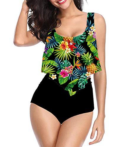 Traje de Baño Mujer Tankini Retro Escotado por detrás Traje de baño de Dos Piezas Trajes de Una Pieza Mujer Playa Adelgazante Natacion Bikini L