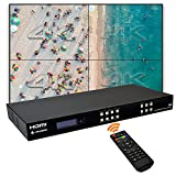 J-Tech Digital 4k 2x2 4K60Hz HDMI Video Wall Controller Multiviewer Seamless Switch Matrix   4K60Hz Input and 4K30Hz Output, Supports HDMI, HDCP, RS-232, LAN, Downscale & Upscale, Web Control