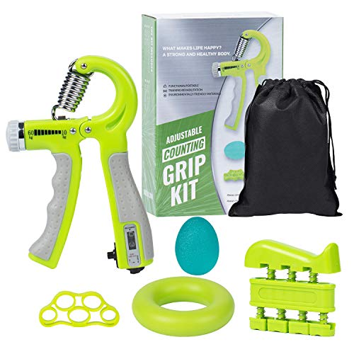 DomKom Grip Strength Trainer Workout Kit 5 Pack Adjustable Resistance 22132 Lbs Counting Hand Gripper Strengthener Finger Exerciser Finger Stretcher Grip Ring amp Stress Relief Grip Ball Green 1