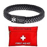 ForeverWill Braccialetto medico di pronto soccorso personalizzato per donne uomini braccialetto magnetico in pelle identificativo per emergenze, nero e Lega, colore: Nero , cod. FW-YL-PW740H-Di-MG