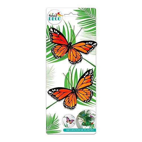 STC Déco Plantes – Lot de 2 Papillons Orange CD3853
