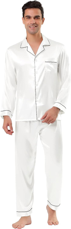 Lars Amadeus Men's Satin Pajama Sets Long Sleeve Loungewear Sleepwear V Neck Button Down Pjs Set