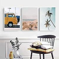 ウォールアートキャンバス絵画黄色いバスパームツリー海の風景ポスター北欧ビーチサーフボードリビングルーム家の装飾60x80cm3Pcsフレームレス
