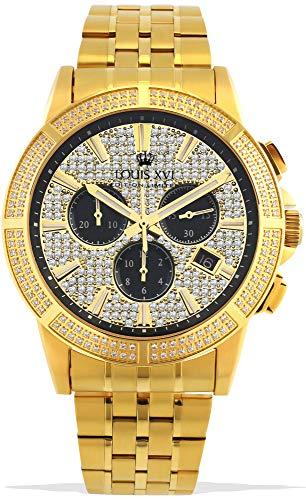 LOUIS XVI Majesté Iced Out 1037 - Reloj de pulsera para hombre (correa de acero inoxidable, cronógrafo, analógico, cuarzo, acero inoxidable)