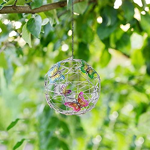 BASOYO Luces colgantes solares linternas de jardín decorativas LED globo luces con mariposa impermeable para pasarela patio patio césped decoración