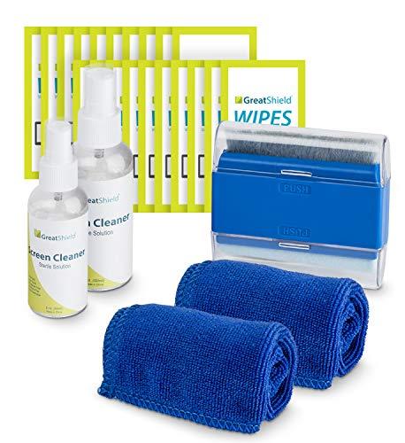 GreatShield Kit di Pulizia dello Schermo con 2 Bottiglie di Soluzione (60ml e 120ml), 2 Panni in Microfibra, 20 salviette per la Pulizia dello Schermo Senza Alcol e spazzolino