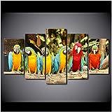 mgdtt Leinwand Gemälde Wandkunst Wohnkultur Wohnzimmer Hd Gedruckt 5 Stücke Papagei Gruppe Poster Feder Bunte Vögel Modulare Bilder-30X40Cmx2/30X60Cmx2/30X80Cmx1