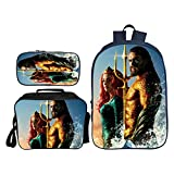Bag Set Mochila Escolar Infantil 3D Aquaman Imprimiendo Traje De Tres Piezas G
