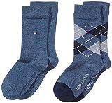 Tommy Hilfiger 334013001, Calcetines para Niños, Azul (Jeans 356), 35-38 (Tamaño del fabricante:035) (Pack de 2
