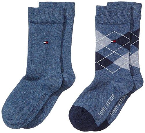 Tommy Hilfiger Jungen Socke 2 er Pack TH Kids Original Argyle, Gr. 31 (Herstellergröße: 31-34), Blau (jeans 356)