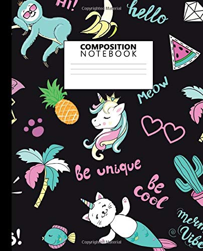 Composition Notebook: Nifty Wide Ruled Paper Notebook Journal | Cute Tropical Cat & Unicorn Wide Blank Lined Workbook for Teens Kids Students Girls for Home School College for Writing Notes.