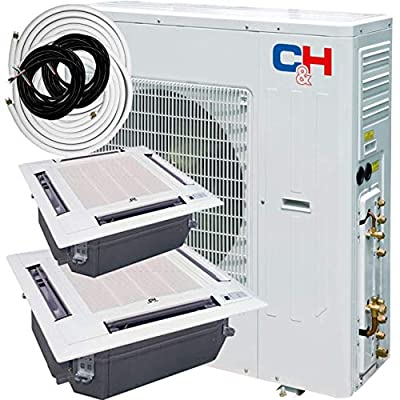 COOPER AND HUNTER Dual 2 Zone 24000 24000 Multi Zone Ceiling Cassette Ductless Mini Split Air Conditioner Heat Pump 21 SEER Including Installation Kits Energy Star Rated 208-230V