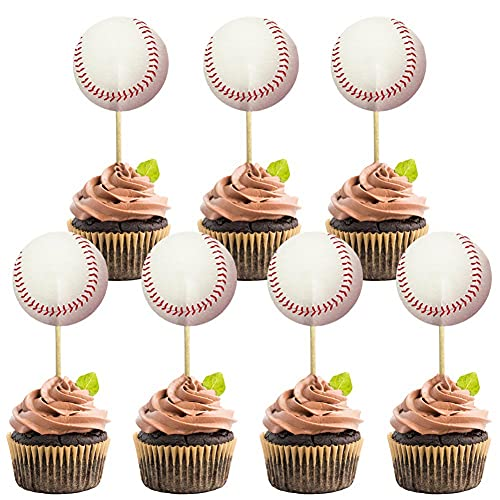 48Pcs Baseball Cupcake Cake Toppers | Baseball Party Supplies Dessert Muffin Cake Decorations for Baseball Themed Party, Baby Shower or Happy Birthday Party Decoration