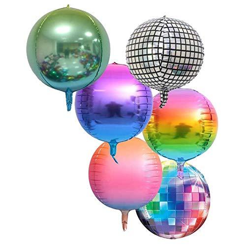 6 globos Jumbo de los años 70 de Disco Fever de 50 cm, 4D, para niños, cumpleaños, adultos, graduación, bodas