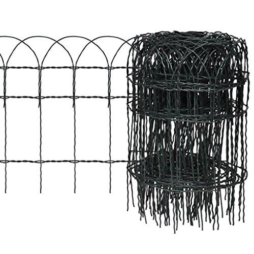vidaXL Bordure de Jardin 10x0,4 m Vert Fer Clôture Bordure de Jardin Pelouse