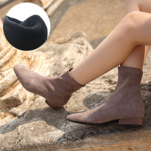 Shukun enkellaarsjes laarzen Women'S Flat Sokken Laarzen Herfst Vierkante Hoofd Stretch Dunne Laarzen Korte Laarzen Dik Met Dikke Winter