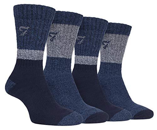 FARAH® - 4er Pack Herren Baumwolle Stiefelsocken mit Gestreift (Navy blau, 39-45)