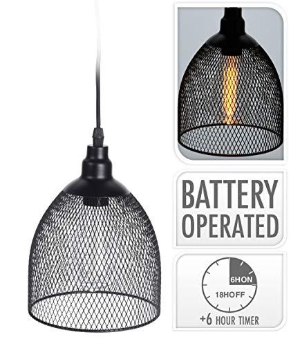 LED Deko Outdoor Hängelampe mit Timer - 21x16 cm - Batterie Fadenlampe Gartenleuchte Hängeleuchte schwarz