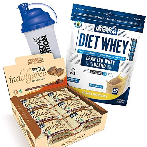 Applied Nutrition Bundle Diet Whey Protein Powder Low Carb & Sugar 1kg + Protein Indulgence High Protein Low Sugar Bar Box 12 x 50g + 700ml Shaker (Diet Whey Banana + Choc Caramel Bars)
