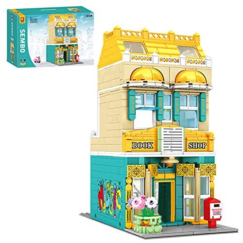 LICI Street View Architettura, 1283Pcs European Street Bookstore, giocattolo con luce, modulo Building con morsetto compatibile con Lego