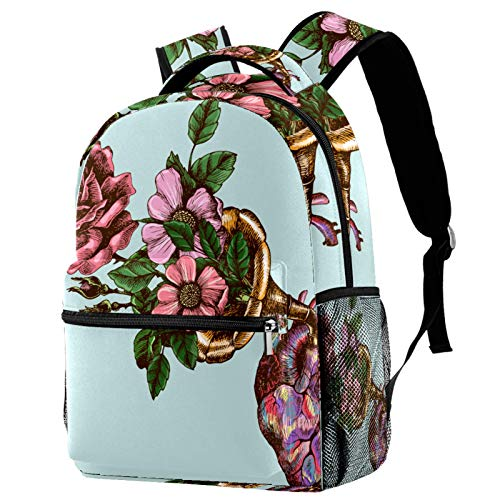 Backpacks for Adults Boys Girls Kids Durable Travel Business Bags Laptop Bags Daypack for School Outdoor Work Blue Trumpet Heart Pink Flower